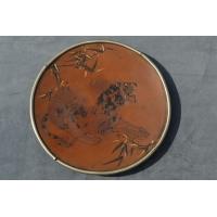PLAT JAPONAIS EN CUIVRE SHAKUDO OR & ARGENT - Japon XVIIIè
