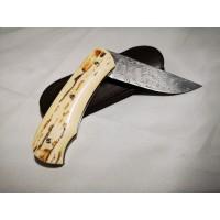 Couteau Pliant Joel Grandjean Ivoire Mammouth Damas inox