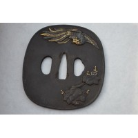 TSUBA de KATANA Phoenix et feuiles de vignes - Japon EDO