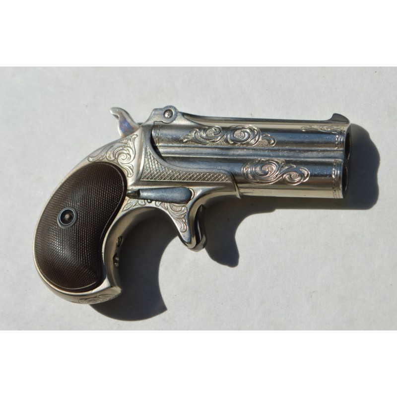 PISTOLET REMINGTON DOUBLE DERRINGER Gravé + étui CALIBRE 41 RIMEFIRE - US XIXè