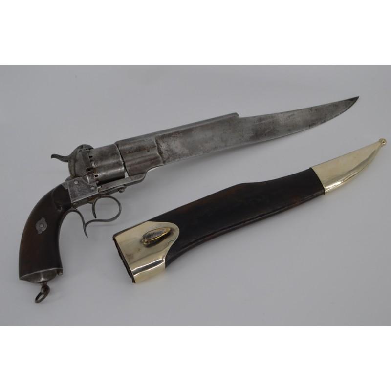 REVOLVER DUMONTHIER A ENORME LAME FORGEE SUR LEFAUCHEUX 1858 Calibre 12mm à Broche 1860 - France XIXè