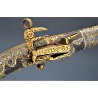 Handguns PISTOLET DE LUXE A SILEX CAUCASIEN COSAQUE RUSSE 18è DAMAS OR ARGENT {PRODUCT_REFERENCE} - 2
