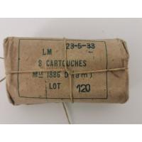 Rechargement PN PAQUET MUNITIONS 8mm LEBEL 1886 modèle 1886 D (am) de 1933 8x51R - FRANCE seconde guerre mondiale {PRODUCT_REFE