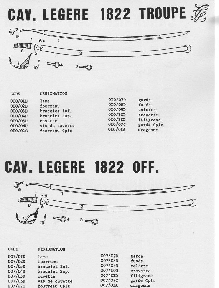 Sabre Cav légère 1822 Trp & Off.